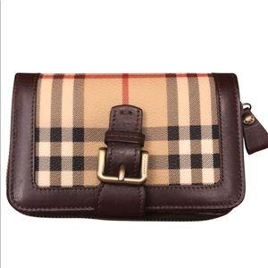 Burberry Check Canvas Haymarket Compact Wallet